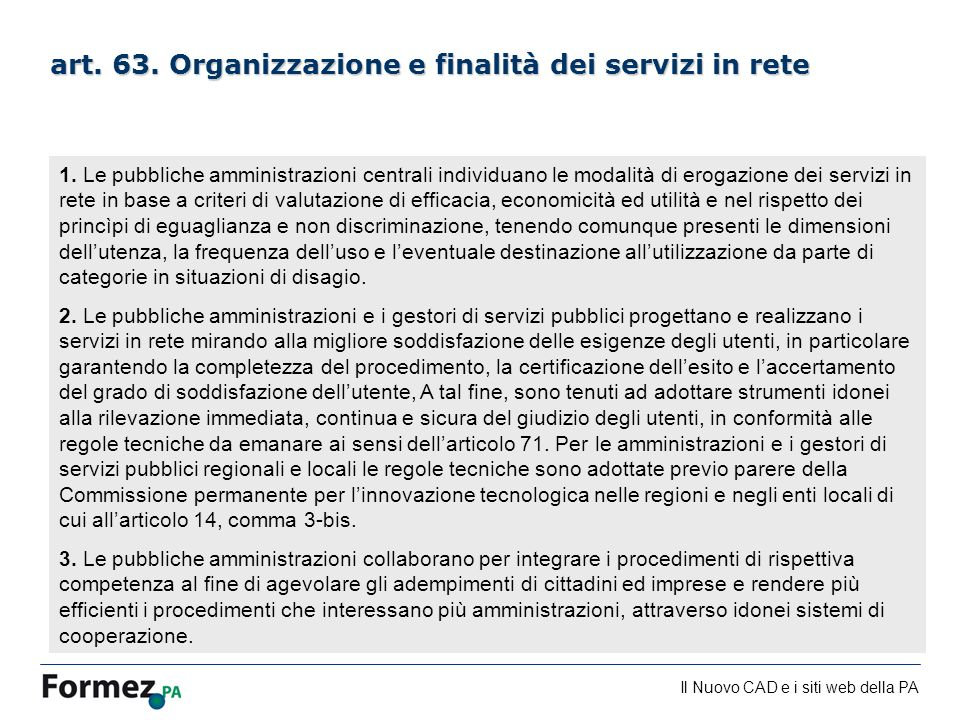 Il Nuovo CAD e i siti web della PA /100 art. 63. Organizzazione e finalità dei servizi in rete 1. Le pubbliche amministrazioni centrali individuano le
