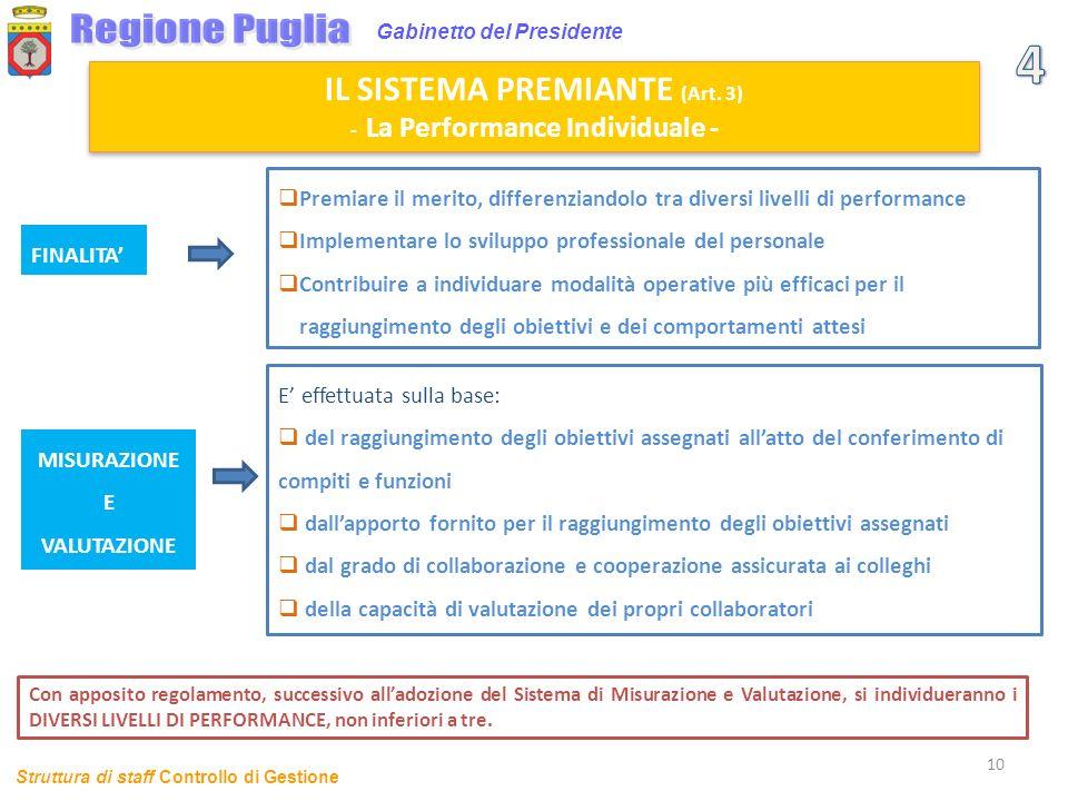 10 Gabinetto del Presidente Premiare il merito, differenziandolo tra diversi livelli di performance Implementare lo sviluppo professionale del persona