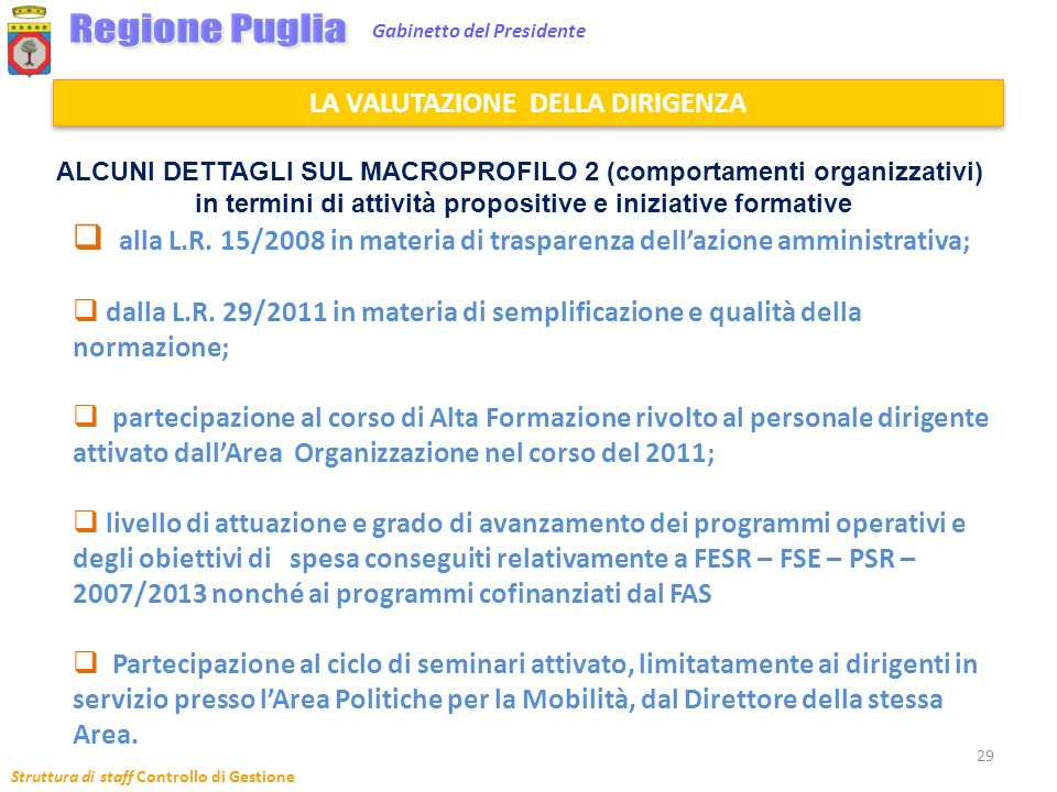 Struttura di staff Controllo di Gestione 29 Gabinetto del Presidente alla L.R. 15/2008 in materia di trasparenza dellazione amministrativa; dalla L.R.