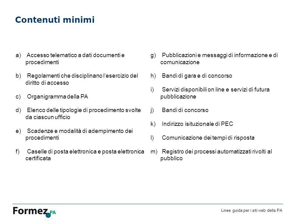 Linee guida per i siti web della PA Contenuti minimi a) Accesso telematico a dati documenti e procedimenti b) Regolamenti che disciplinano lesercizio