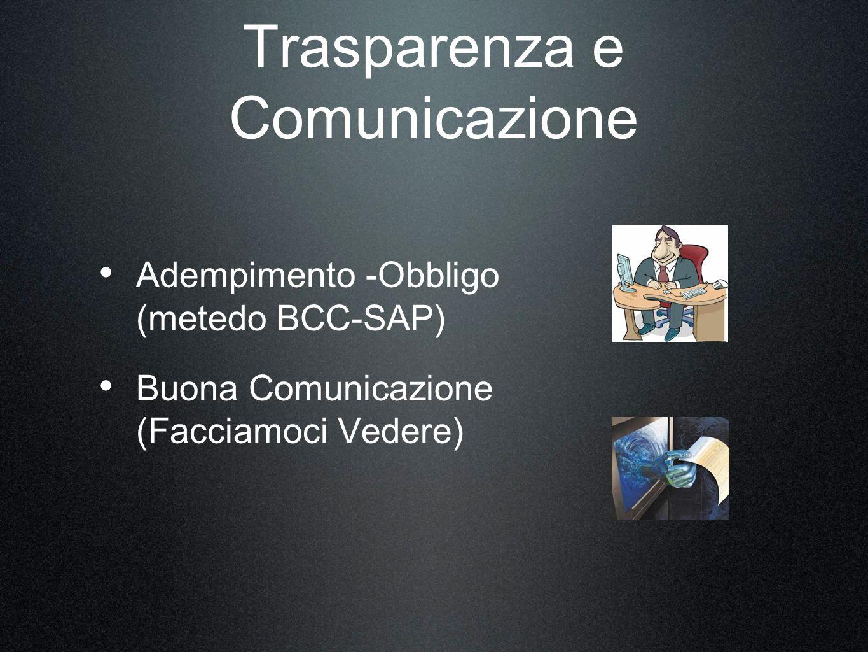 Trasparenza e Comunicazione Adempimento -Obbligo (metedo BCC-SAP) Buona Comunicazione (Facciamoci Vedere)