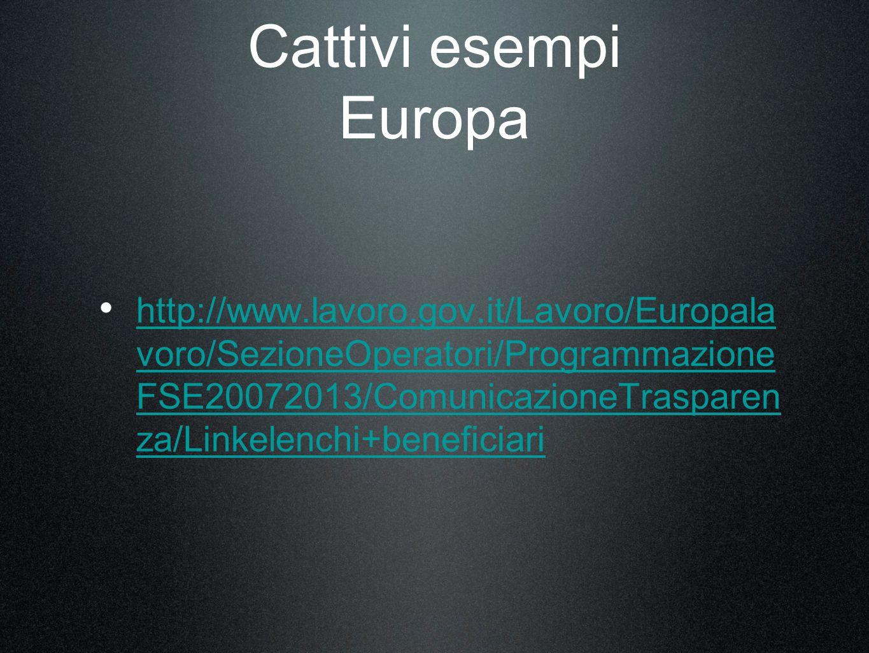 Cattivi esempi Europa http://www.lavoro.gov.it/Lavoro/Europala voro/SezioneOperatori/Programmazione FSE20072013/ComunicazioneTrasparen za/Linkelenchi+beneficiari http://www.lavoro.gov.it/Lavoro/Europala voro/SezioneOperatori/Programmazione FSE20072013/ComunicazioneTrasparen za/Linkelenchi+beneficiari