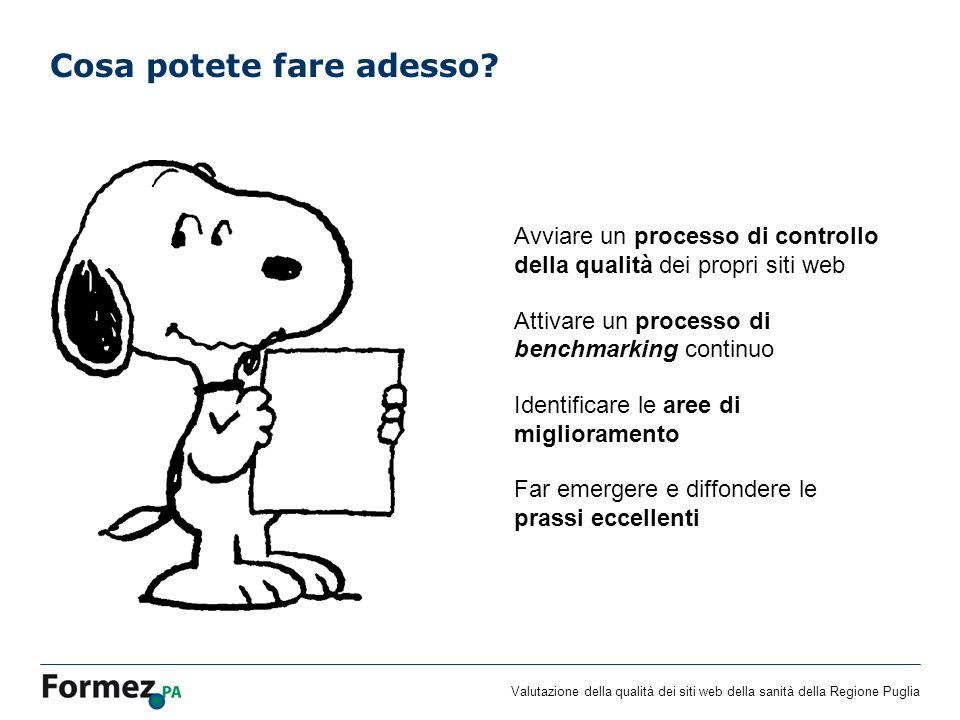 Valutazione della qualità dei siti web della sanità della Regione Puglia Cosa potete fare adesso.