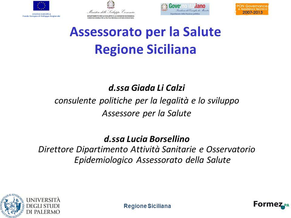 Assessorato per la Salute Regione Siciliana d.ssa Giada Li Calzi consulente politiche per la legalità e lo sviluppo Assessore per la Salute d.ssa Luci