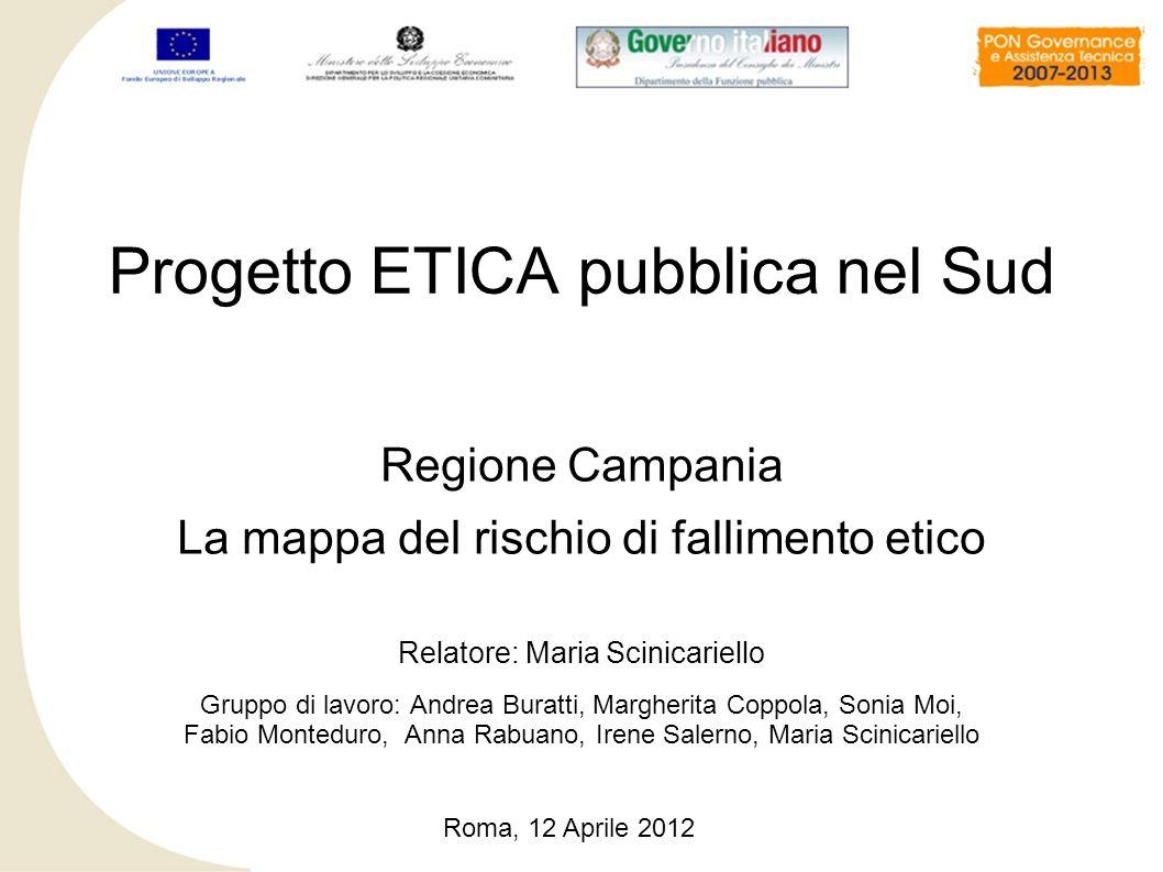 Regione Campania La mappa del rischio di fallimento etico Relatore: Maria Scinicariello Gruppo di lavoro: Andrea Buratti, Margherita Coppola, Sonia Mo
