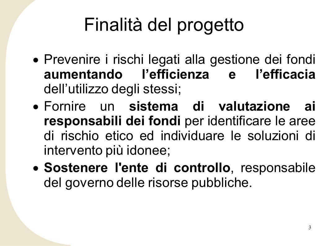 Finalità del progetto Prevenire i rischi legati alla gestione dei fondi aumentando lefficienza e lefficacia dellutilizzo degli stessi; Fornire un sist