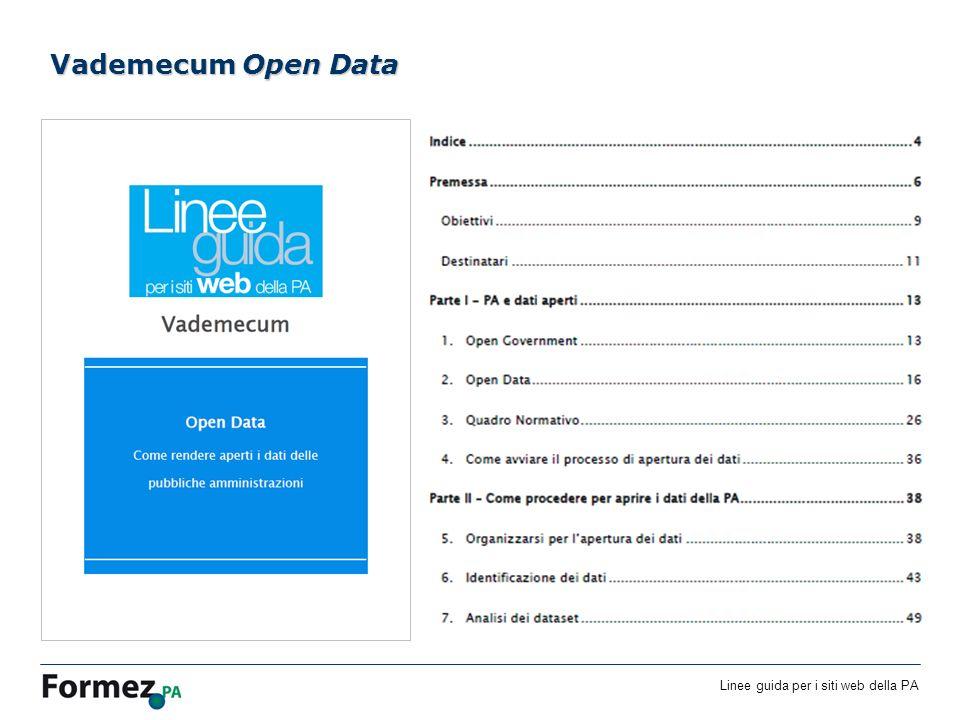 Linee guida per i siti web della PA /100 Vademecum Open Data