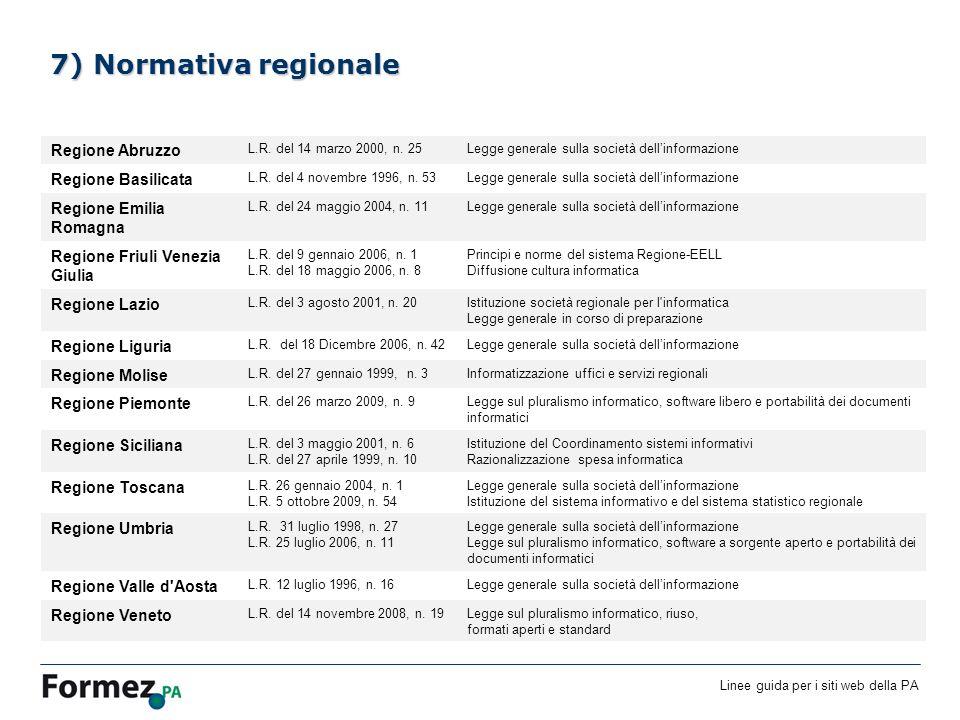 Linee guida per i siti web della PA /100 7) Normativa regionale Regione Abruzzo L.R.