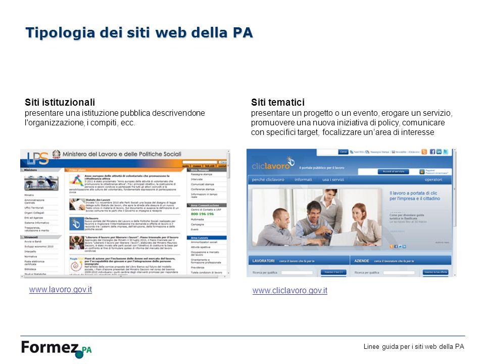 Linee guida per i siti web della PA /100 Siti istituzionali presentare una istituzione pubblica descrivendone l organizzazione, i compiti, ecc.