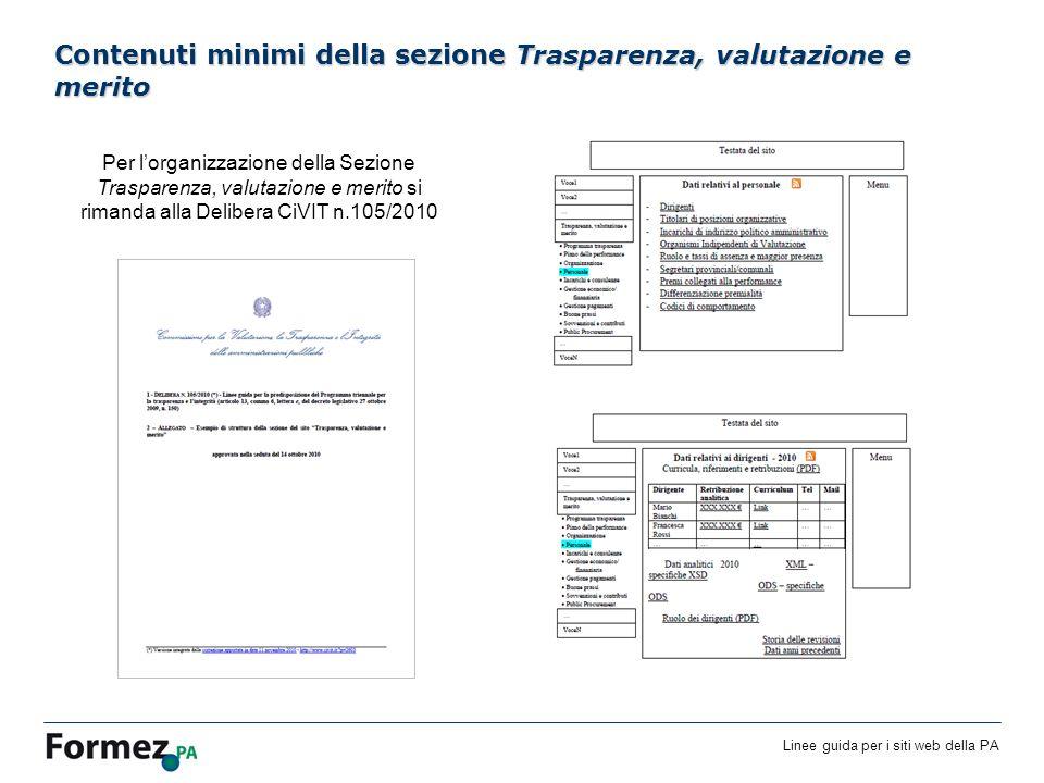 Linee guida per i siti web della PA /100 Contenuti minimi della sezione Trasparenza, valutazione e merito Per lorganizzazione della Sezione Trasparenza, valutazione e merito si rimanda alla Delibera CiVIT n.105/2010