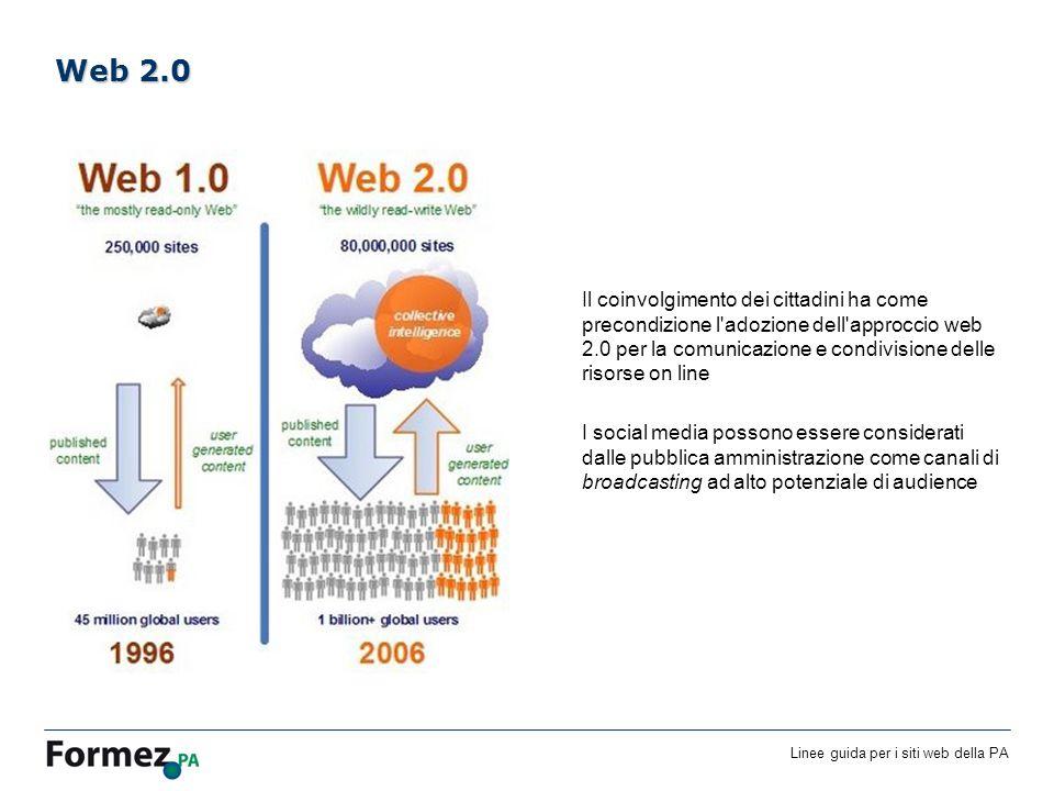 Linee guida per i siti web della PA /100 Il coinvolgimento dei cittadini ha come precondizione l adozione dell approccio web 2.0 per la comunicazione e condivisione delle risorse on line I social media possono essere considerati dalle pubblica amministrazione come canali di broadcasting ad alto potenziale di audience Web 2.0