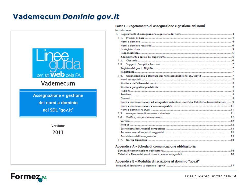Linee guida per i siti web della PA /100 Vademecum Dominio gov.it