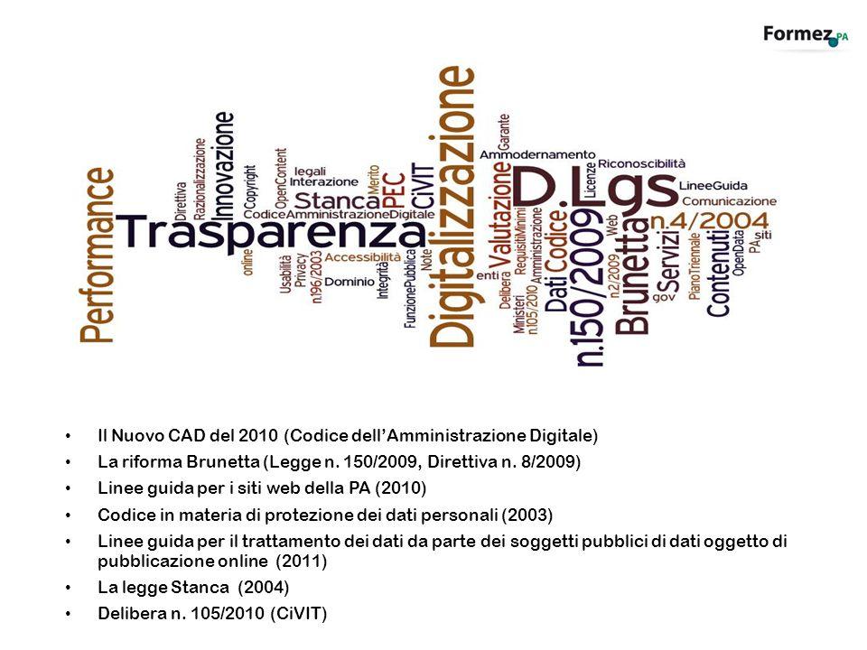 Il Nuovo CAD del 2010 (Codice dellAmministrazione Digitale) La riforma Brunetta (Legge n. 150/2009, Direttiva n. 8/2009) Linee guida per i siti web de