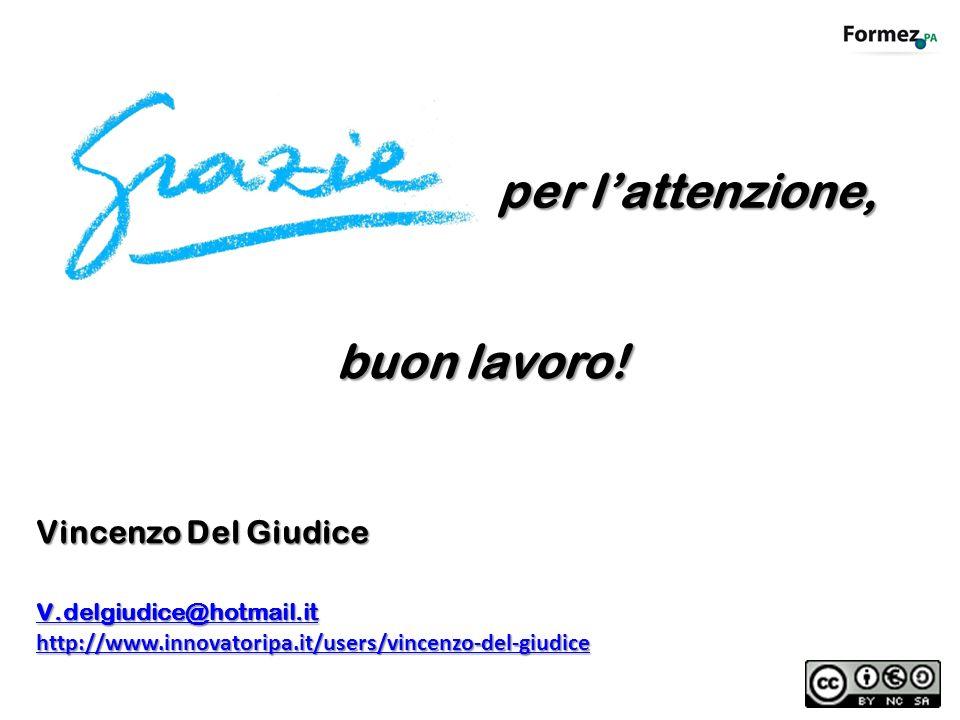 buon lavoro! Vincenzo Del Giudice v.delgiudice@hotmail.it v.delgiudice@hotmail.it http://www.innovatoripa.it/users/vincenzo-del-giudice per lattenzion