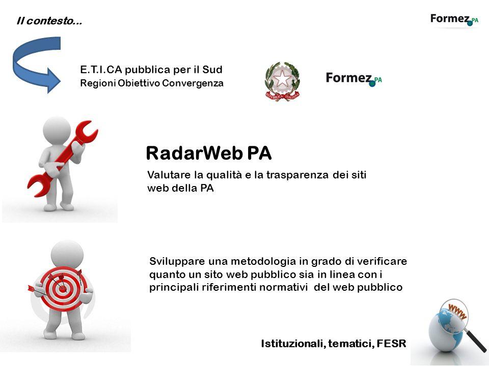 Il contesto... E.T.I.CA pubblica per il Sud Regioni Obiettivo Convergenza RadarWeb PA Valutare la qualità e la trasparenza dei siti web della PA Svilu