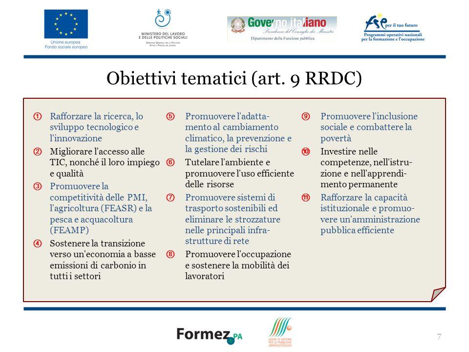 8 I fondi Obiettivi (art.81 RRDC) Copertura territoriale (art.
