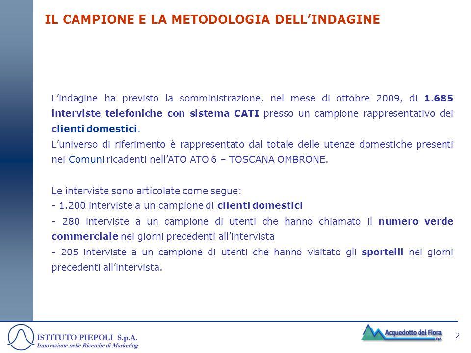 2 IL CAMPIONE E LA METODOLOGIA DELLINDAGINE Lindagine ha previsto la somministrazione, nel mese di ottobre 2009, di 1.685 interviste telefoniche con s