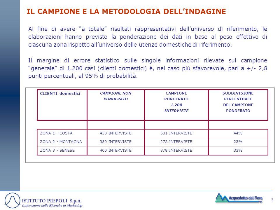 3 IL CAMPIONE E LA METODOLOGIA DELLINDAGINE Al fine di avere a totale risultati rappresentativi delluniverso di riferimento, le elaborazioni hanno pre