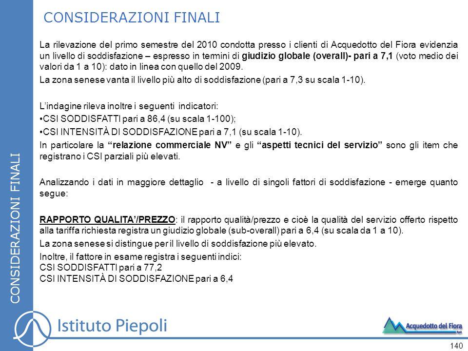 La rilevazione del primo semestre del 2010 condotta presso i clienti di Acquedotto del Fiora evidenzia un livello di soddisfazione – espresso in termi
