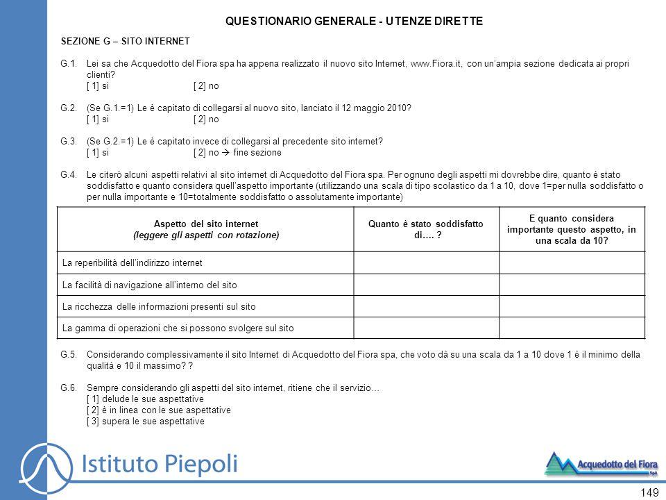 149 SEZIONE G – SITO INTERNET G.1.Lei sa che Acquedotto del Fiora spa ha appena realizzato il nuovo sito Internet, www.Fiora.it, con unampia sezione d