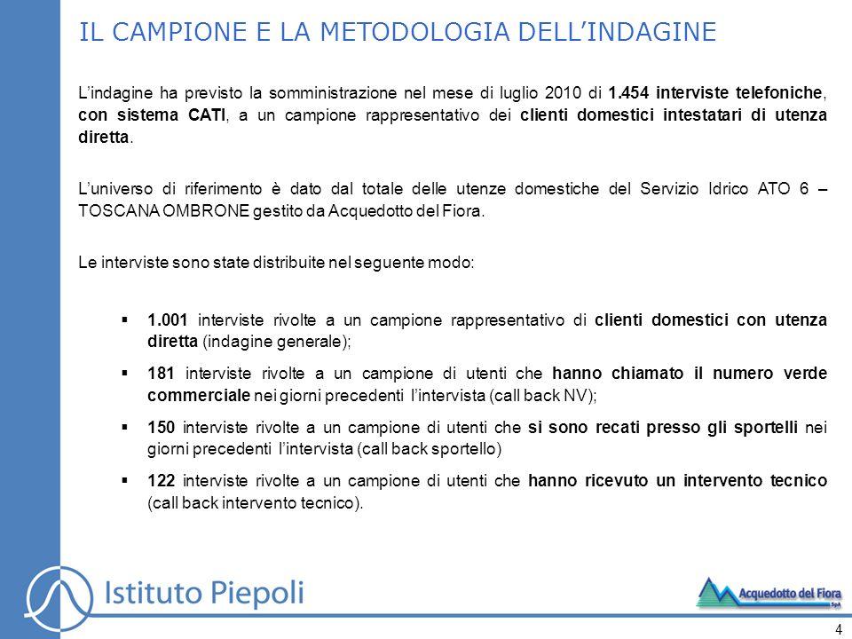 IL CAMPIONE E LA METODOLOGIA DELLINDAGINE Lindagine ha previsto la somministrazione nel mese di luglio 2010 di 1.454 interviste telefoniche, con siste
