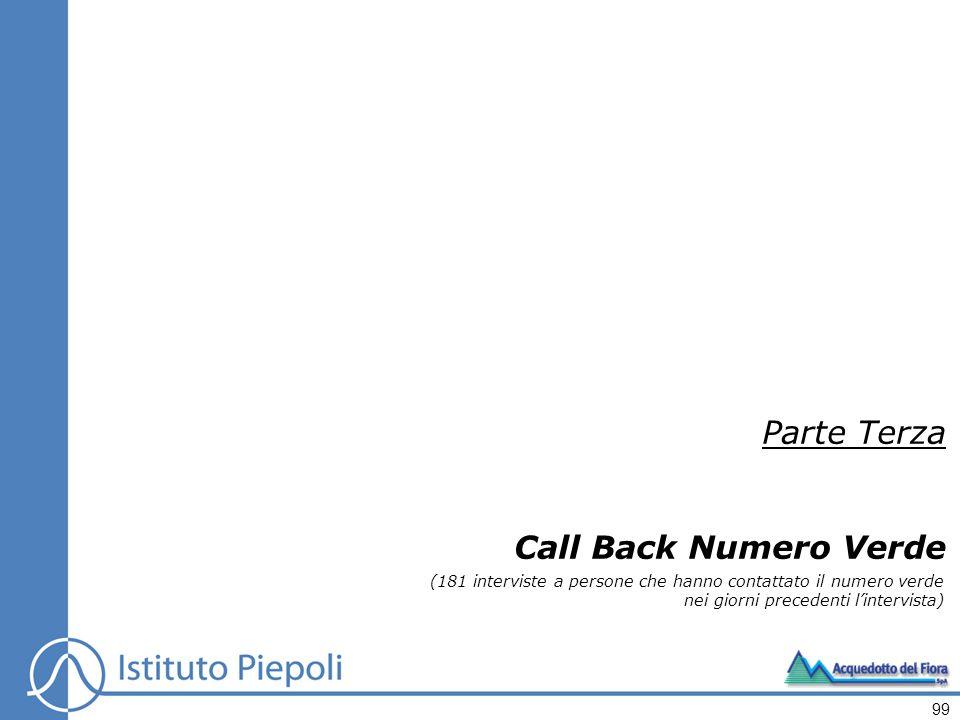 Parte Terza Call Back Numero Verde (181 interviste a persone che hanno contattato il numero verde nei giorni precedenti lintervista) 99