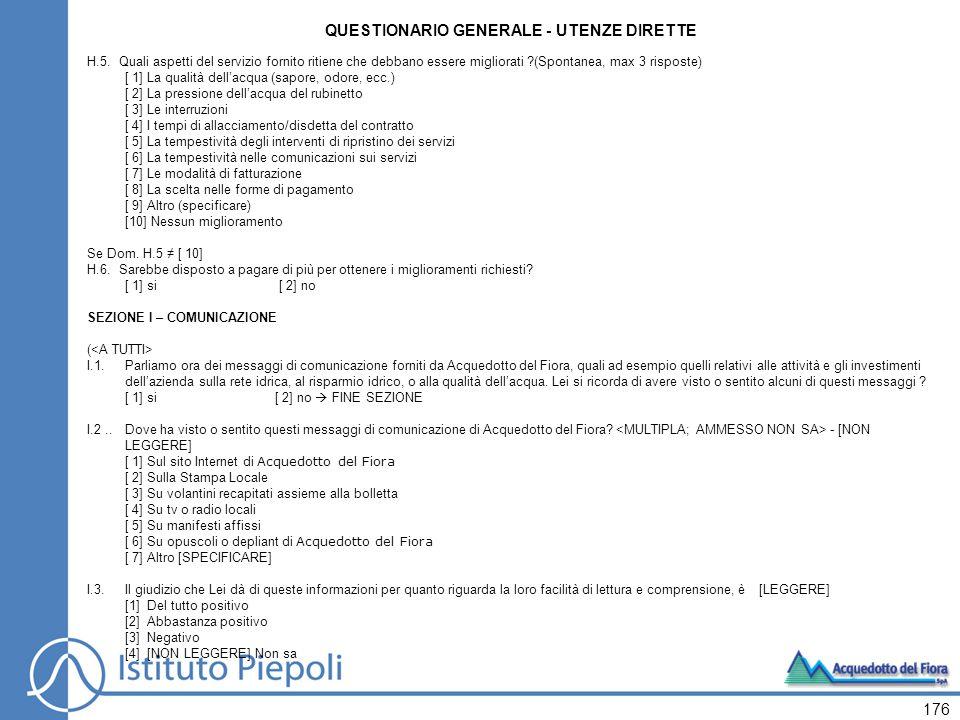 176 QUESTIONARIO GENERALE - UTENZE DIRETTE H.5.