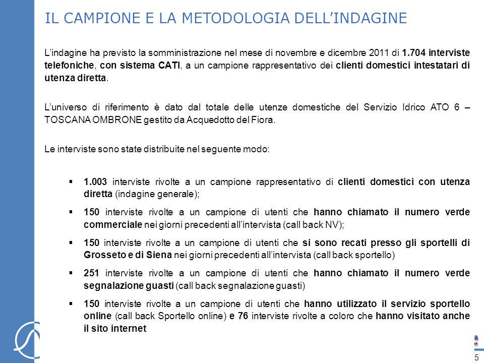 IL CAMPIONE E LA METODOLOGIA DELLINDAGINE Lindagine ha previsto la somministrazione nel mese di novembre e dicembre 2011 di 1.704 interviste telefoniche, con sistema CATI, a un campione rappresentativo dei clienti domestici intestatari di utenza diretta.