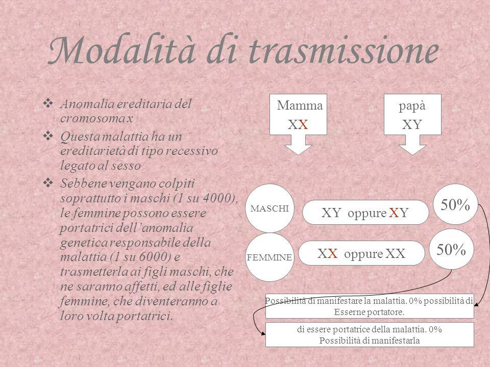Sindrome dellx Fragile… sintomatologia Ritardo mentale Ritardo dello sviluppo del linguaggio verbale Iperattività Sterilità I maschi si presentano alt