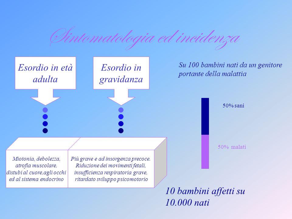 Distrofia Miotonica Multisistemica Autosomica la mutazione è localizzata sui cromosomi non sessuali Dominante il fenotipo dei geni alterati si esprime sia in omozigosi che in eterozigosi È una malattia: interessa più apparati