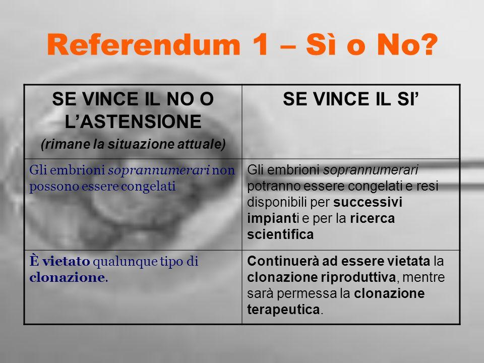 Referendum 1 – Sì o No? SE VINCE IL NO O LASTENSIONE (rimane la situazione attuale) SE VINCE IL SI Gli embrioni soprannumerari non possono essere cong