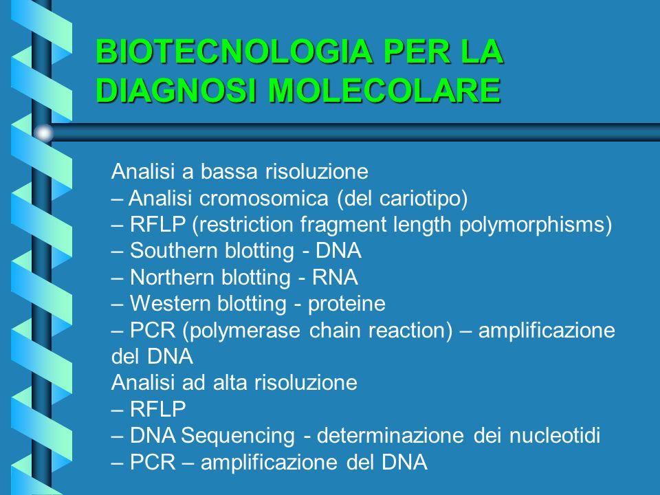 BIOTECNOLOGIA PER LA DIAGNOSI MOLECOLARE Analisi a bassa risoluzione – Analisi cromosomica (del cariotipo) – RFLP (restriction fragment length polymor