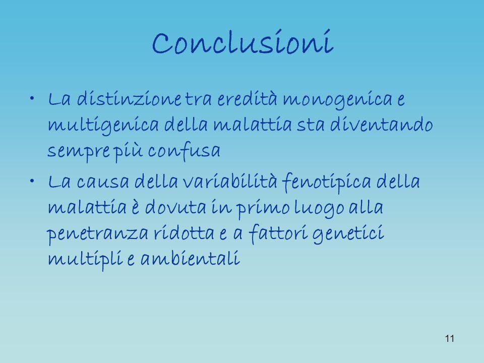 11 Conclusioni La distinzione tra eredità monogenica e multigenica della malattia sta diventando sempre più confusa La causa della variabilità fenotip
