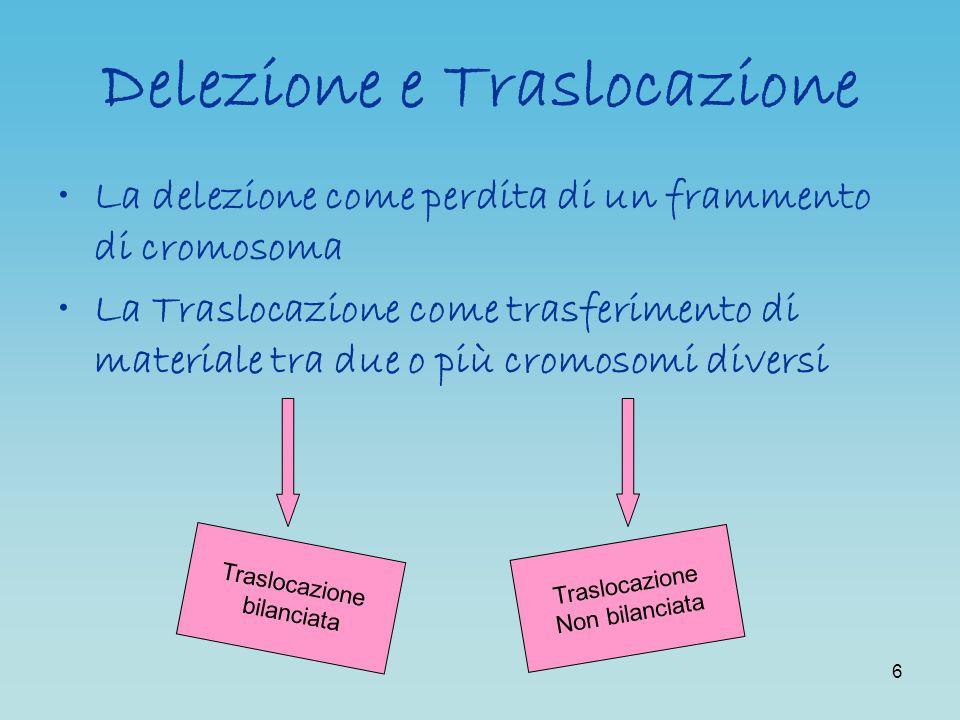 6 Delezione e Traslocazione La delezione come perdita di un frammento di cromosoma La Traslocazione come trasferimento di materiale tra due o più crom