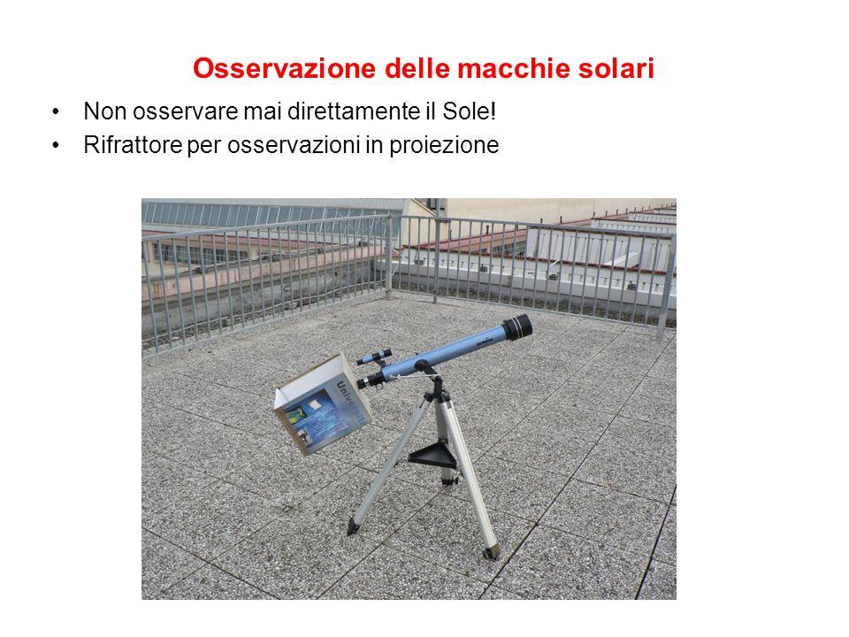 Osservazione delle macchie solari Non osservare mai direttamente il Sole! Rifrattore per osservazioni in proiezione