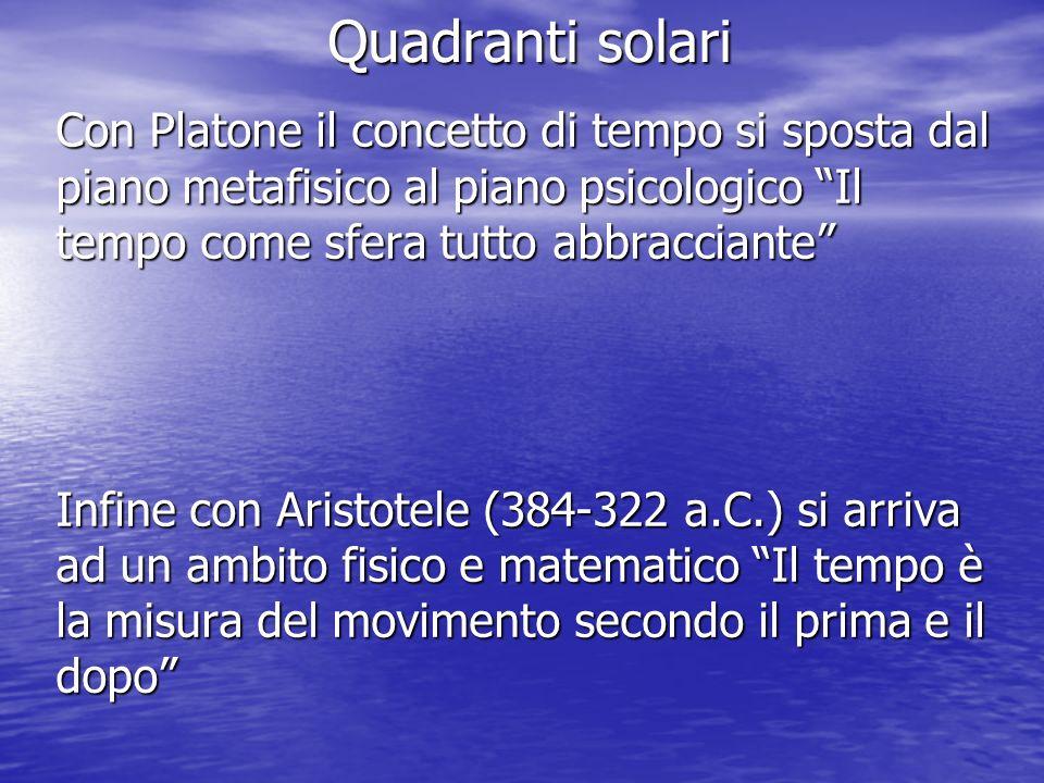 Quadranti solari Con Platone il concetto di tempo si sposta dal piano metafisico al piano psicologico Il tempo come sfera tutto abbracciante Infine co