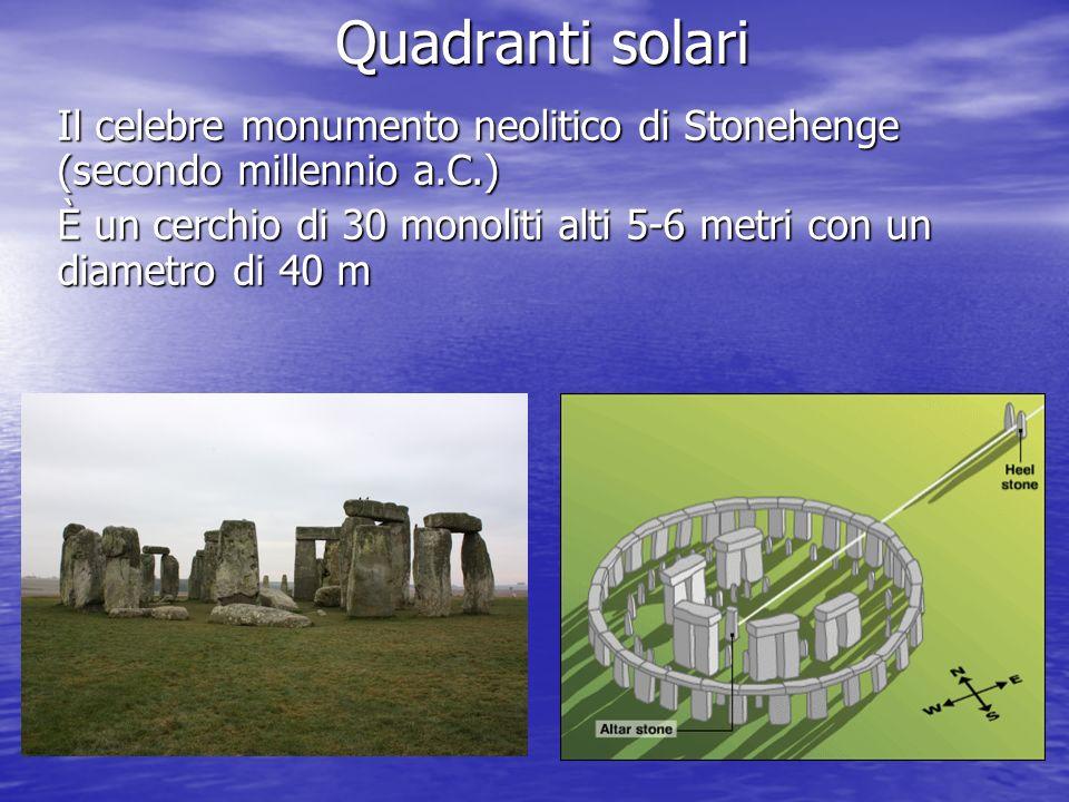 Quadranti solari Il celebre monumento neolitico di Stonehenge (secondo millennio a.C.) È un cerchio di 30 monoliti alti 5-6 metri con un diametro di 4