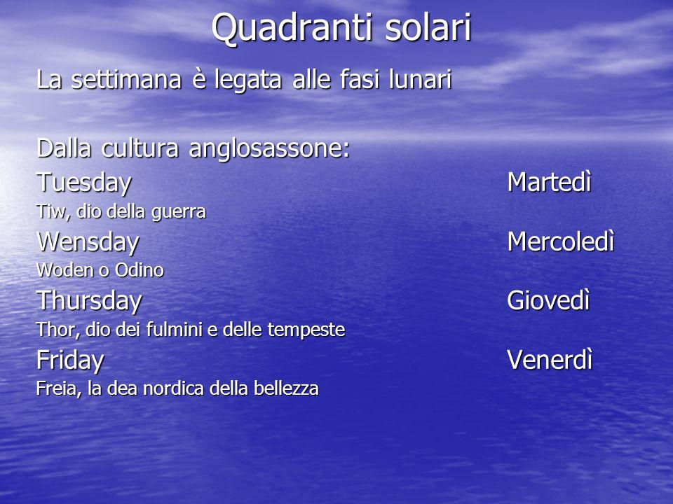 Quadranti solari La settimana è legata alle fasi lunari Dalla cultura anglosassone: TuesdayMartedì Tiw, dio della guerra WensdayMercoledì Woden o Odin