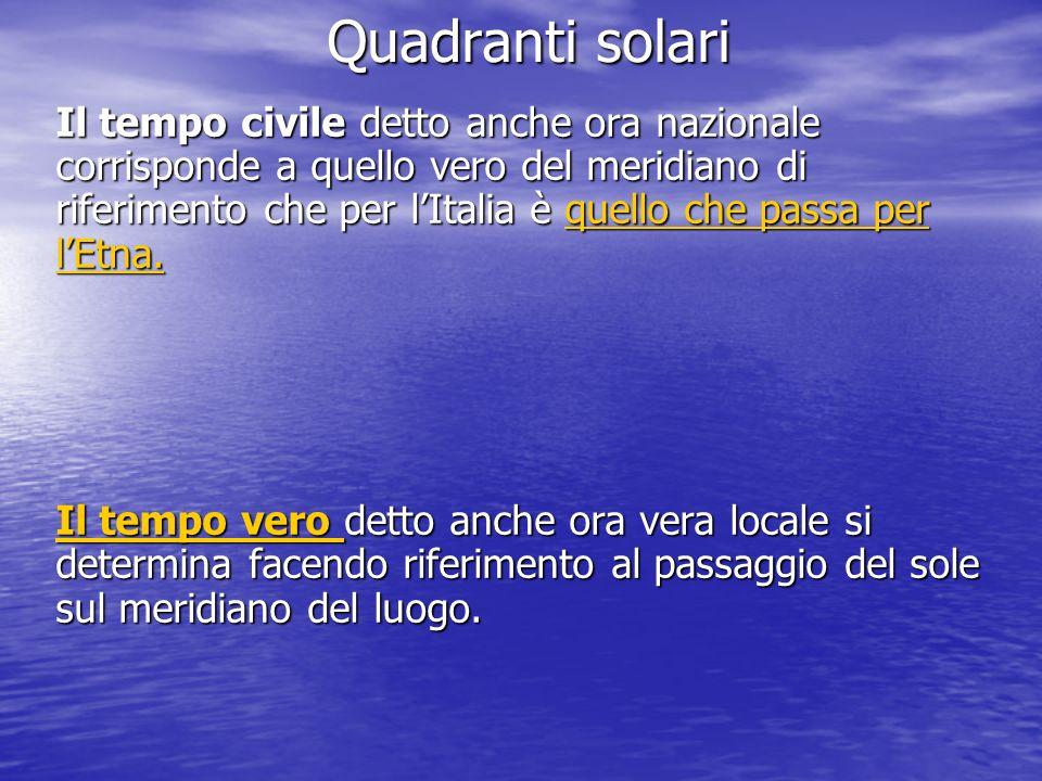 Quadranti solari Il tempo civile detto anche ora nazionale corrisponde a quello vero del meridiano di riferimento che per lItalia è quello che passa p