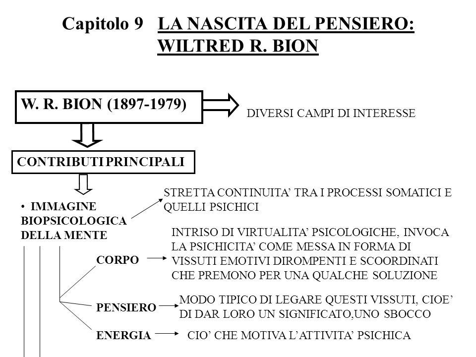 Capitolo 9 LA NASCITA DEL PENSIERO: WILTRED R. BION W. R. BION (1897-1979) DIVERSI CAMPI DI INTERESSE CONTRIBUTI PRINCIPALI IMMAGINE BIOPSICOLOGICA DE