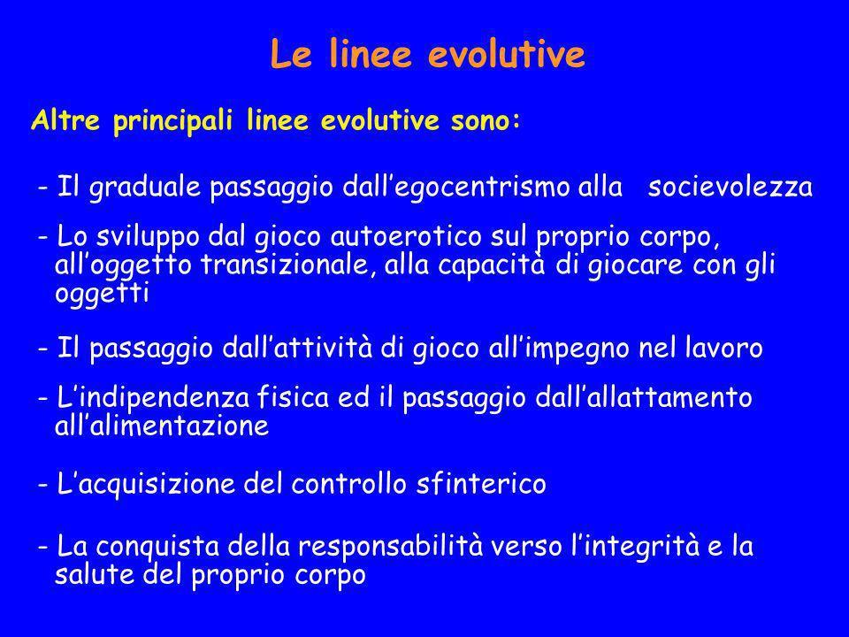 Le linee evolutive Altre principali linee evolutive sono: - Il graduale passaggio dallegocentrismo alla socievolezza - Lo sviluppo dal gioco autoeroti