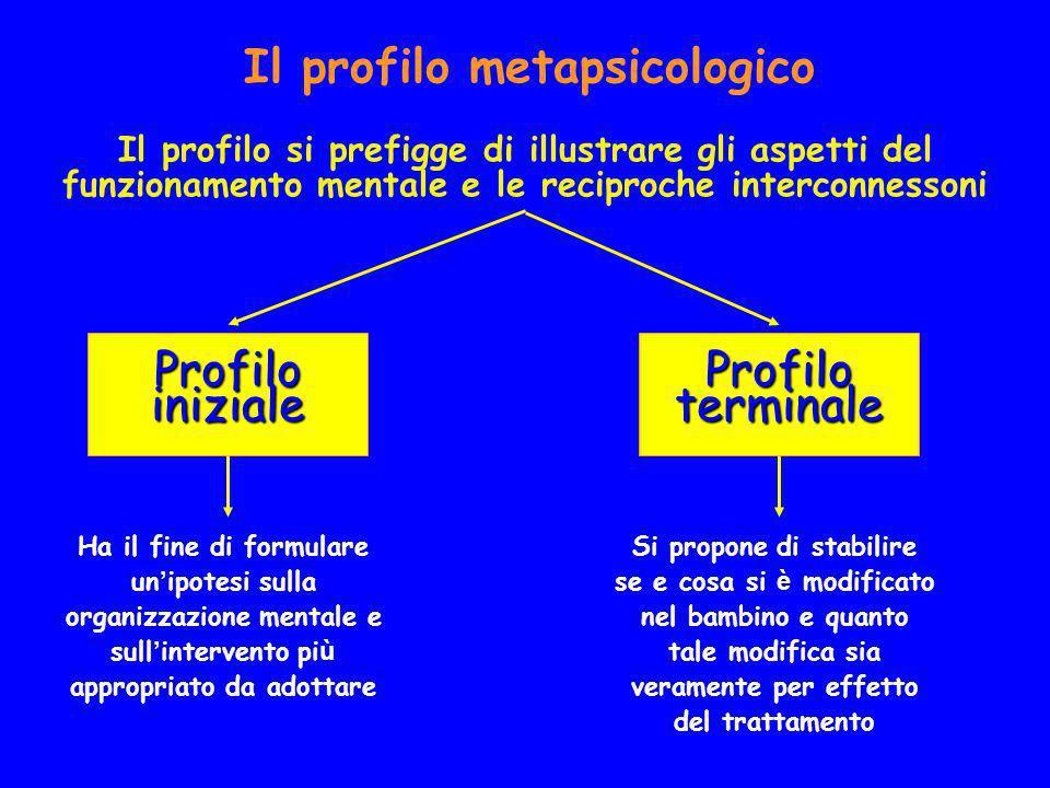 Il profilo metapsicologico Il profilo si prefigge di illustrare gli aspetti del funzionamento mentale e le reciproche interconnessoni Profilo iniziale