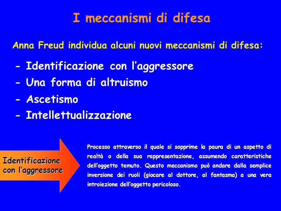 I meccanismi di difesa Anna Freud individua alcuni nuovi meccanismi di difesa: - Identificazione con laggressore - Una forma di altruismo - Ascetismo