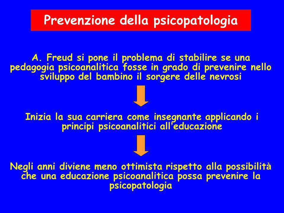 Prevenzione della psicopatologia A. Freud si pone il problema di stabilire se una pedagogia psicoanalitica fosse in grado di prevenire nello sviluppo