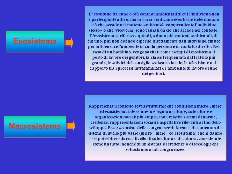 Esosistema E costituito da «uno o più contesti ambientali di cui lindividuo non è partecipante attivo, ma in cui si verificano eventi che determinano