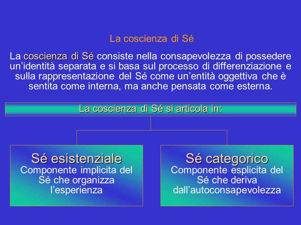 La coscienza di Sé coscienza di Sé La coscienza di Sé consiste nella consapevolezza di possedere unidentità separata e si basa sul processo di differenziazione e sulla rappresentazione del Sé come unentità oggettiva che è sentita come interna, ma anche pensata come esterna.