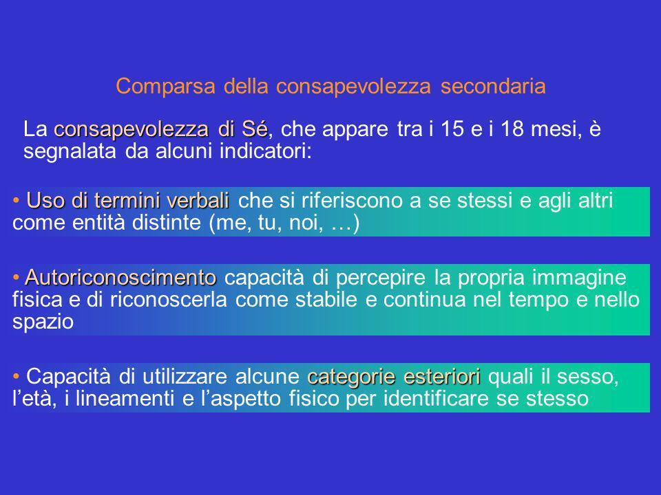 Comparsa della consapevolezza secondaria Uso di termini verbali Uso di termini verbali che si riferiscono a se stessi e agli altri come entità distint