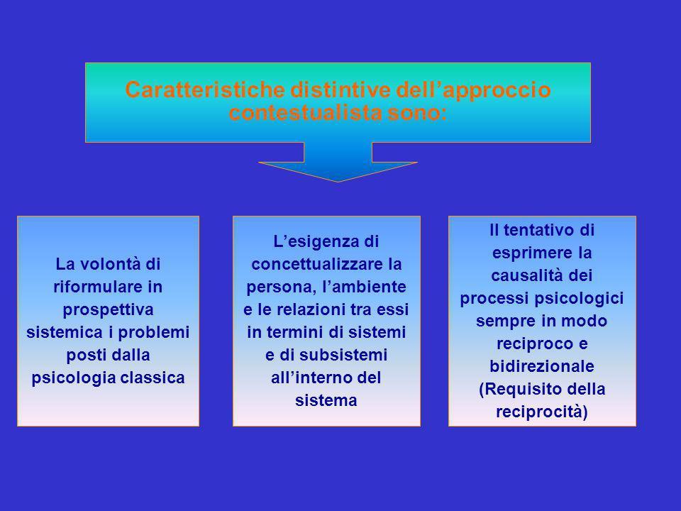 Caratteristiche distintive dellapproccio contestualista sono: La volontà di riformulare in prospettiva sistemica i problemi posti dalla psicologia cla