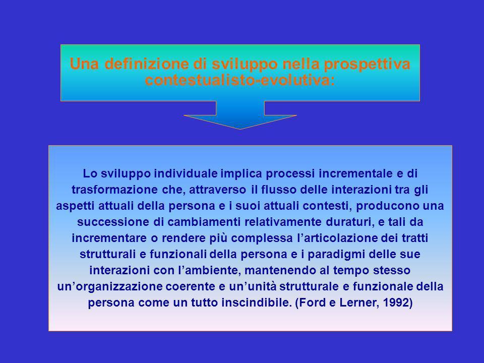 Una definizione di sviluppo nella prospettiva contestualisto-evolutiva: Lo sviluppo individuale implica processi incrementale e di trasformazione che, attraverso il flusso delle interazioni tra gli aspetti attuali della persona e i suoi attuali contesti, producono una successione di cambiamenti relativamente duraturi, e tali da incrementare o rendere più complessa larticolazione dei tratti strutturali e funzionali della persona e i paradigmi delle sue interazioni con lambiente, mantenendo al tempo stesso unorganizzazione coerente e ununità strutturale e funzionale della persona come un tutto inscindibile.