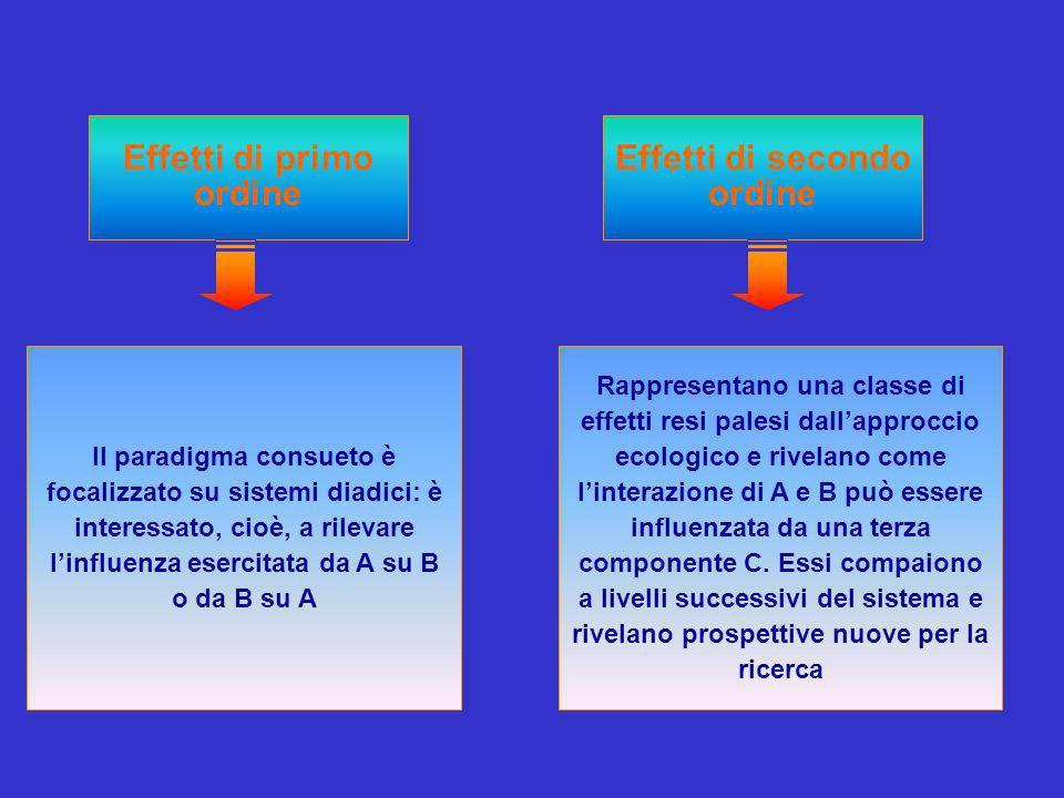 Effetti di primo ordine Il paradigma consueto è focalizzato su sistemi diadici: è interessato, cioè, a rilevare linfluenza esercitata da A su B o da B su A Rappresentano una classe di effetti resi palesi dallapproccio ecologico e rivelano come linterazione di A e B può essere influenzata da una terza componente C.